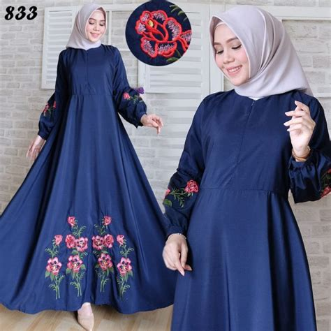 Bilbina Maxi Gamis Brukat Dress Bordir Pesta maxi longdress woolpeach bordir c833 gamis modern terbaru