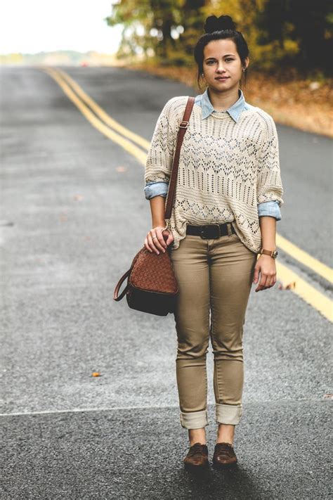 Denim Shirt X Sweater s beige crochet crew neck sweater light blue denim shirt brown brown