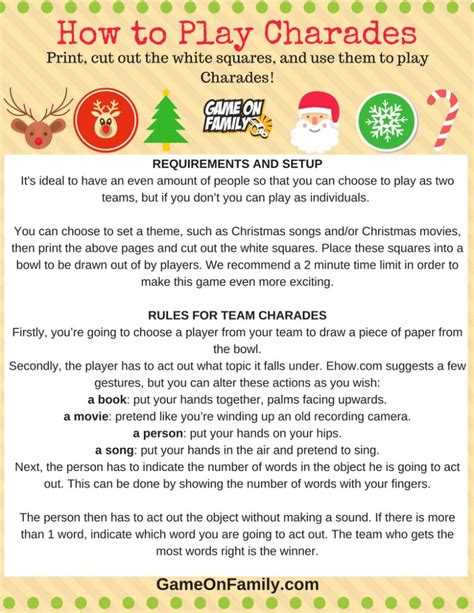 printable christmas charades how to play christmas charades free printable games