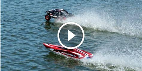 rc trucks with boats rc car vs rc boat the slash hydroplane vs the spartan