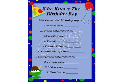 printable birthday games 17 best images about printables for kids on pinterest
