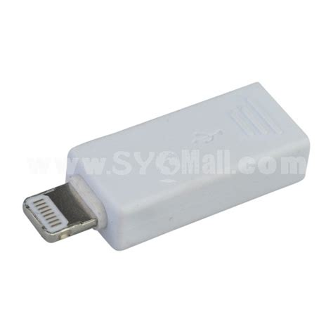 lightning 8 pin to micro usb adapter converter for iphone 5 mini 4 white