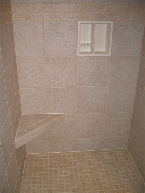 12x12 bathroom tile shower installed with better bench 12x12 porcelain tiles also shown to the left