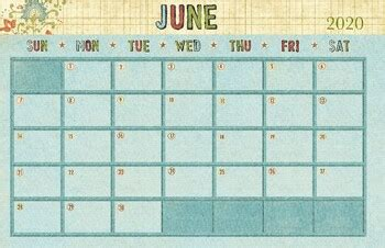 june  calendar   drawn  learn teachers pay teachers