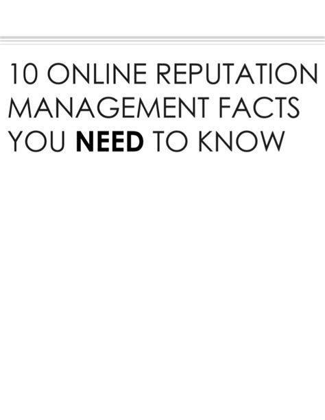 10 Facts About That You Need To by 10 Reputation Facts That You Need To
