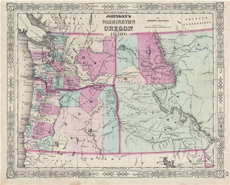 map of oregon and idaho johnson s washington oregon and idaho geographicus