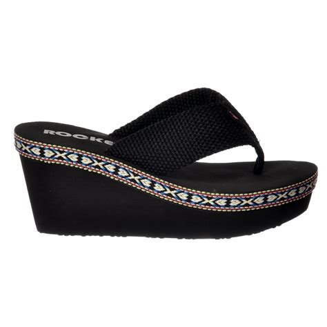 rocket dogs rocket desta wedge platform flip flops black rocket from shoekandi uk