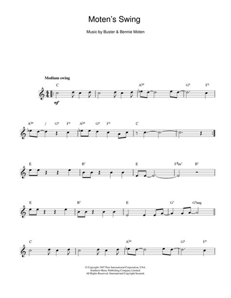 moten swing moten s swing sheet music by bennie moten melody line