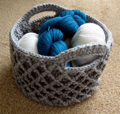 crochet pattern for yarn basket diamond trellis basket make my day creative