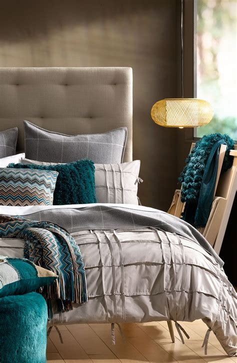 turquoise and grey bedroom for the home
