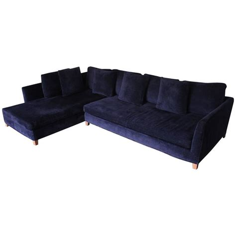 navy blue velvet sectional flexform quot victor quot sectional l shape sofa in navy blue