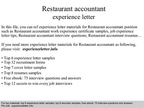 Thank You Letter For Restaurant restaurant accountant experience letter