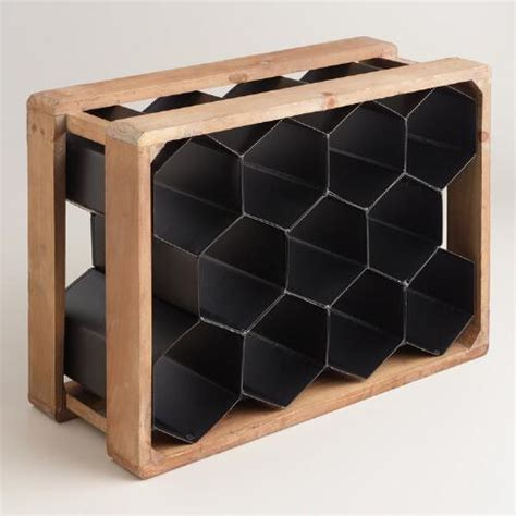 market wine cabinet metal and wood honeycomb 11 bottle wine rack market