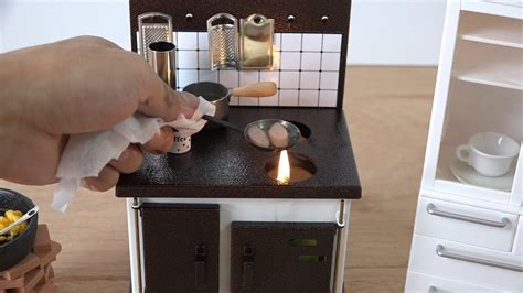 Real Working Miniature Kitchen by 本当に食べれる ミニチュアクッキング Miniature Real Food Konapun 料理
