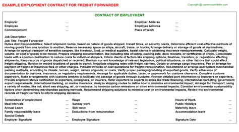 Freight Forwarder Employment Contracts Agreements Contracts Templates Freight Contract Template