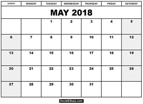 Printable Calendar For May 2018 | may 2018 calendar printable template with holidays pdf usa uk