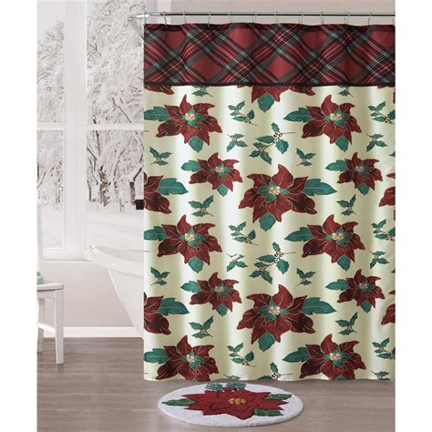 christmas shower curtain clearance poinsettia plaid 72 x 72 quot shower curtain red home