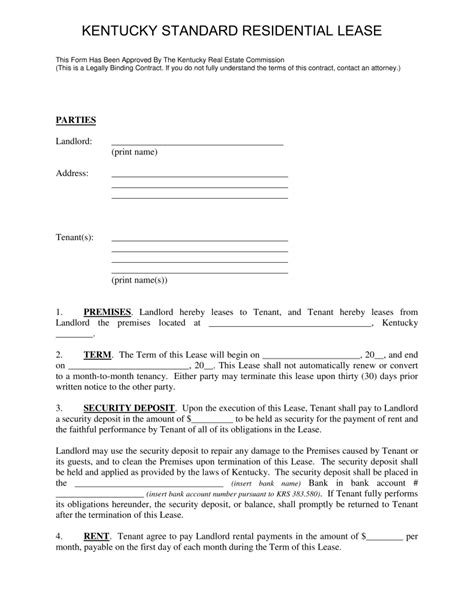 Free Kentucky Standard Residential Lease Agreement Template Form Pm106 Word Pdf Eforms Standard Lease Template