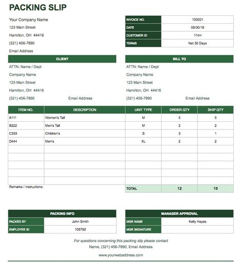 packing slip template docs free docs invoice templates smartsheet