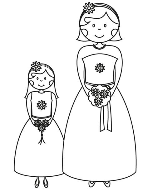 cute wedding coloring pages bridesmaid flower girl free printable coloring pages