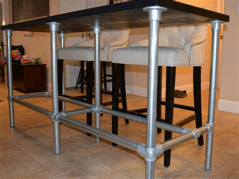 diy counter height table  pipe legs
