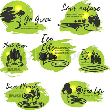 Kaos Go Green Collection Earth Text eco go green save nature and ecology protection symbol set green tree nature landscape