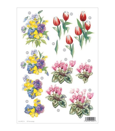 Floral Decoupage - craft uk 3 d die cut decoupage sheet floral line 000114