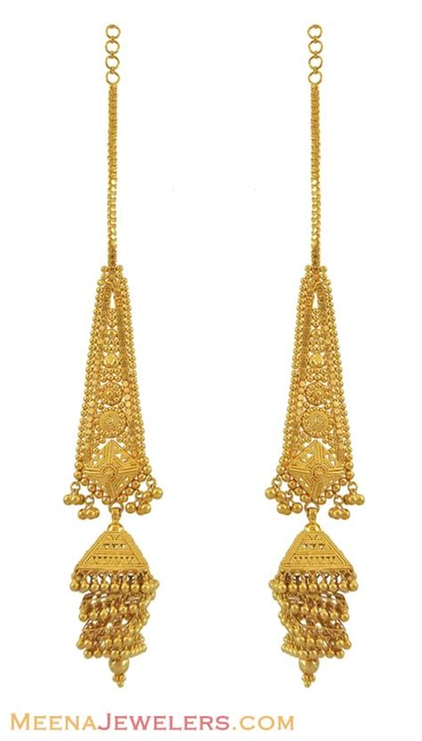 gold jhumka pattern 22k filigree jhumka earrings erfc10602 22k yellow gold