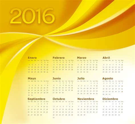 Calendario U De G 2016 Calendario 2016 En Espa 241 Ol Abstracto Dorado Vector Clipart