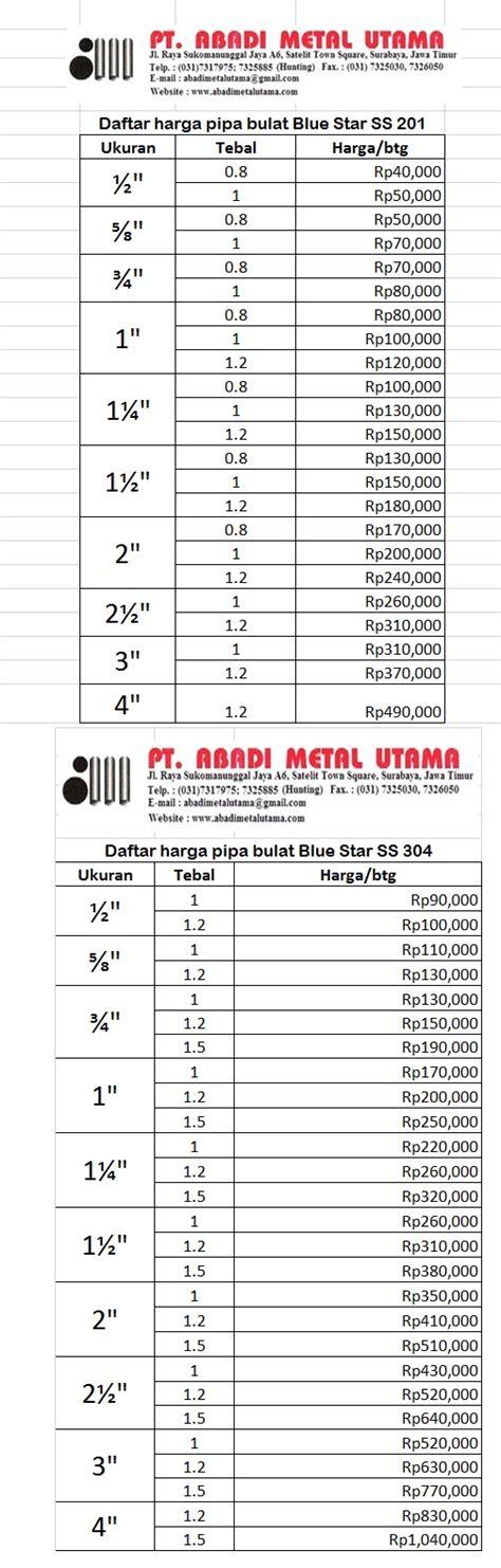 Pipa Besi Bulat Daftar Harga Pipa Bulat Stainless Steel Blue Pt