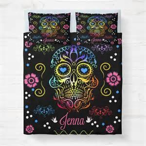 Duvet Cover And Insert Set Skull Bedding Personalized Sugar Skulls Bedding Duvet