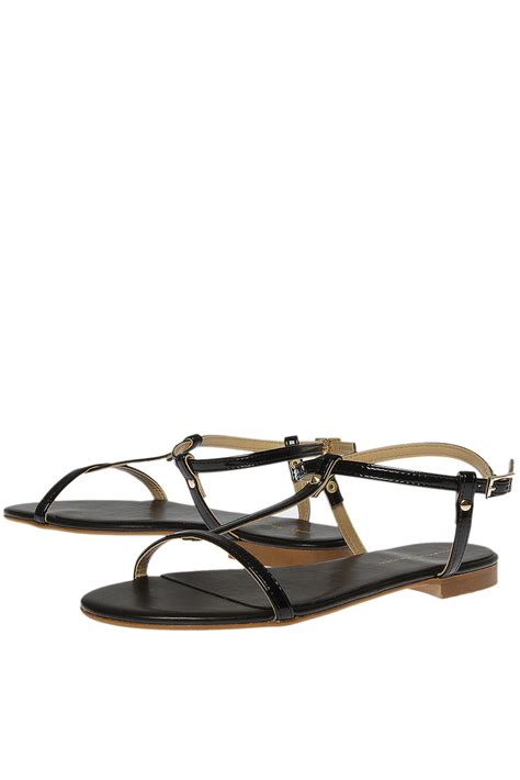 black flat t bar shoes topshop black flat tbar sandals by kg by kurt geiger in