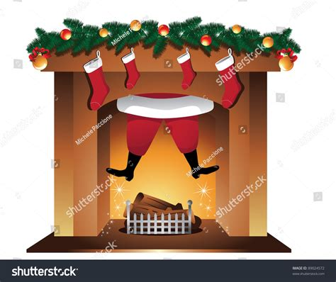 santa fireplace santa claus goes fireplace stock vector