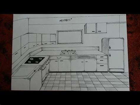 how to draw a kitchen one point perspective
