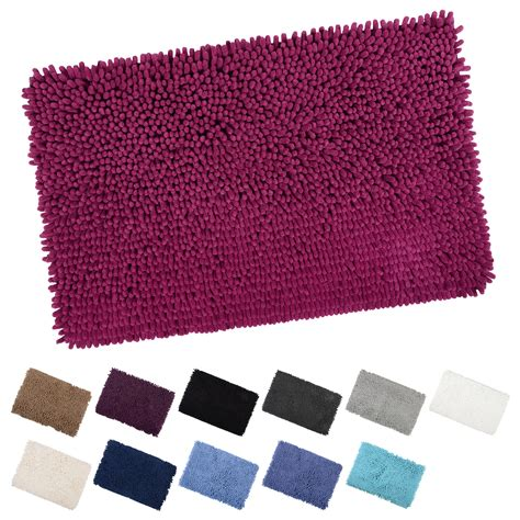 Shaggy Bathroom Rugs Luxury Microfibre Shaggy Bath Mat With Anti Slip Backing Bathroom Shower Rug Ebay