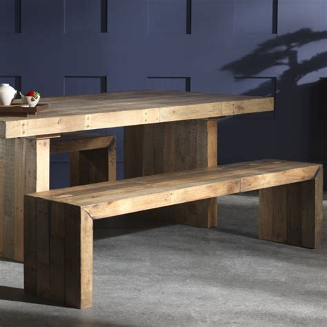 Large Dining Table And Benches Buy Rustic Chunky Plank Recycled Wood Dining Set