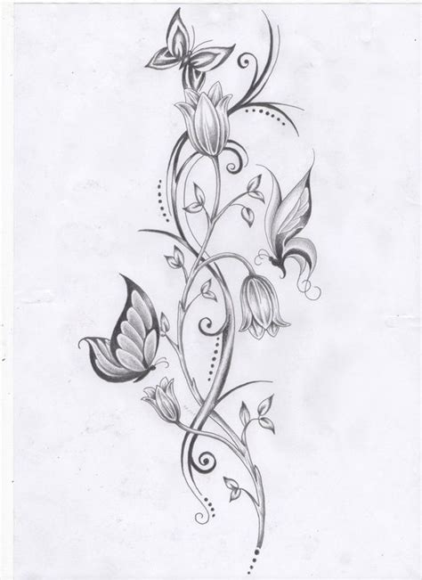 butterfly flower tattoo designs free best 20 flower vine tattoos ideas on