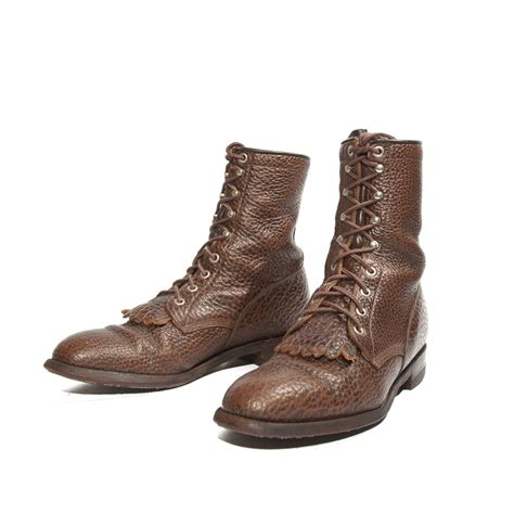 s justin lace up ankle roper boot brown bull hide