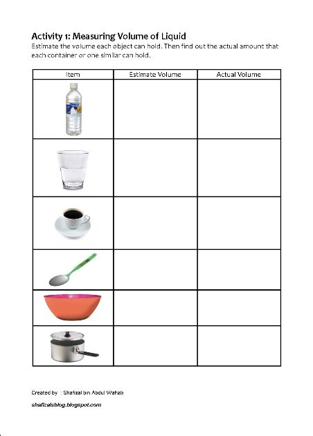 measuring volume how much liquid can it hold worksheet shafizal s blog activity 1 measuring volume how much