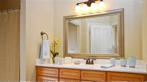 Mirrors For Bathrooms Framed Mirror For Bathroom And White Vanity Countertop Decofurnish