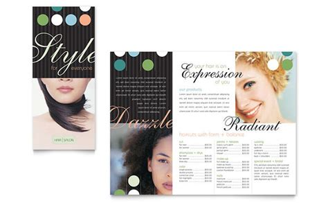 free templates for spa brochures beauty hair salon brochure template design