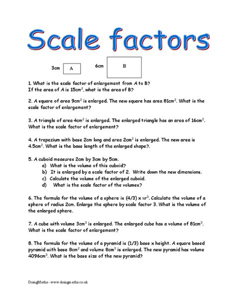 Scale Factor Worksheet With Answers by Free Math Worksheets On Scale Factor Gingpovbirngamo79
