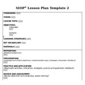 siop lesson plan templates sle siop lesson plan 8 documents in pdf word