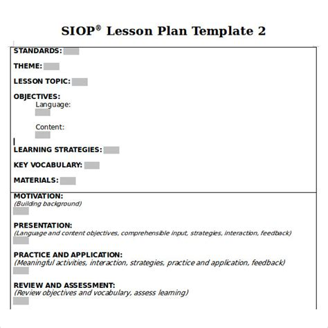 siop lesson plan templat sle siop lesson plan 8 documents in pdf word
