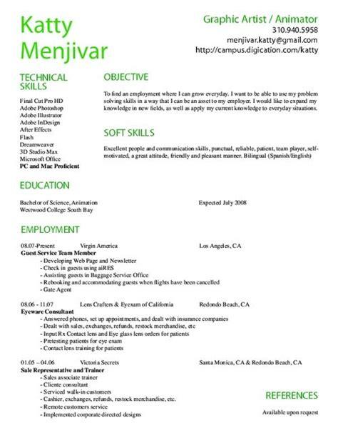 Animator Resume Design Print Resume Sle Resume Resume Format Animated Resume Templates