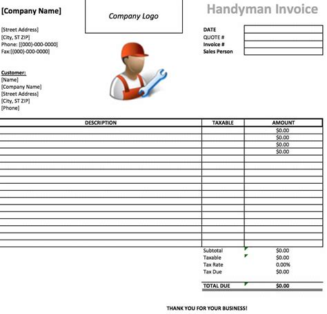 home improvement receipt templates free handyman invoice template excel pdf word doc