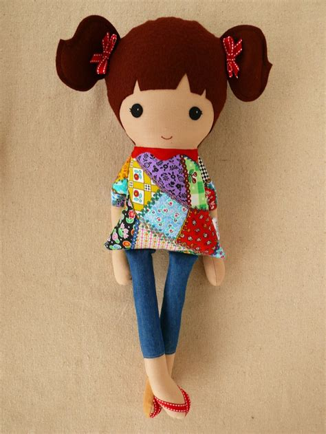 Patchwork Doll - fabric doll rag doll in patchwork dress and ponytails