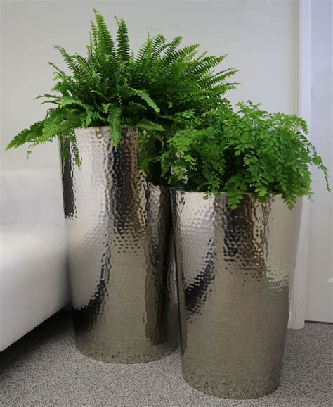 80cm Vase Hammered Stainless Steel Tapered Round Planters From