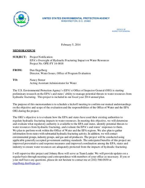 Epa Office Of Water by Memo From Epa Office Of Inspector General Oig Convening