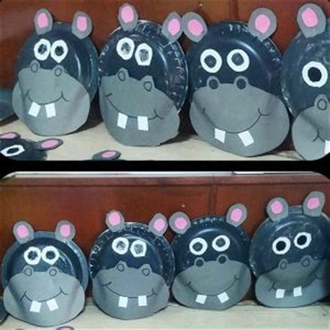 Hippo Paper Plate Craft - hippo craft idea for crafts and worksheets for